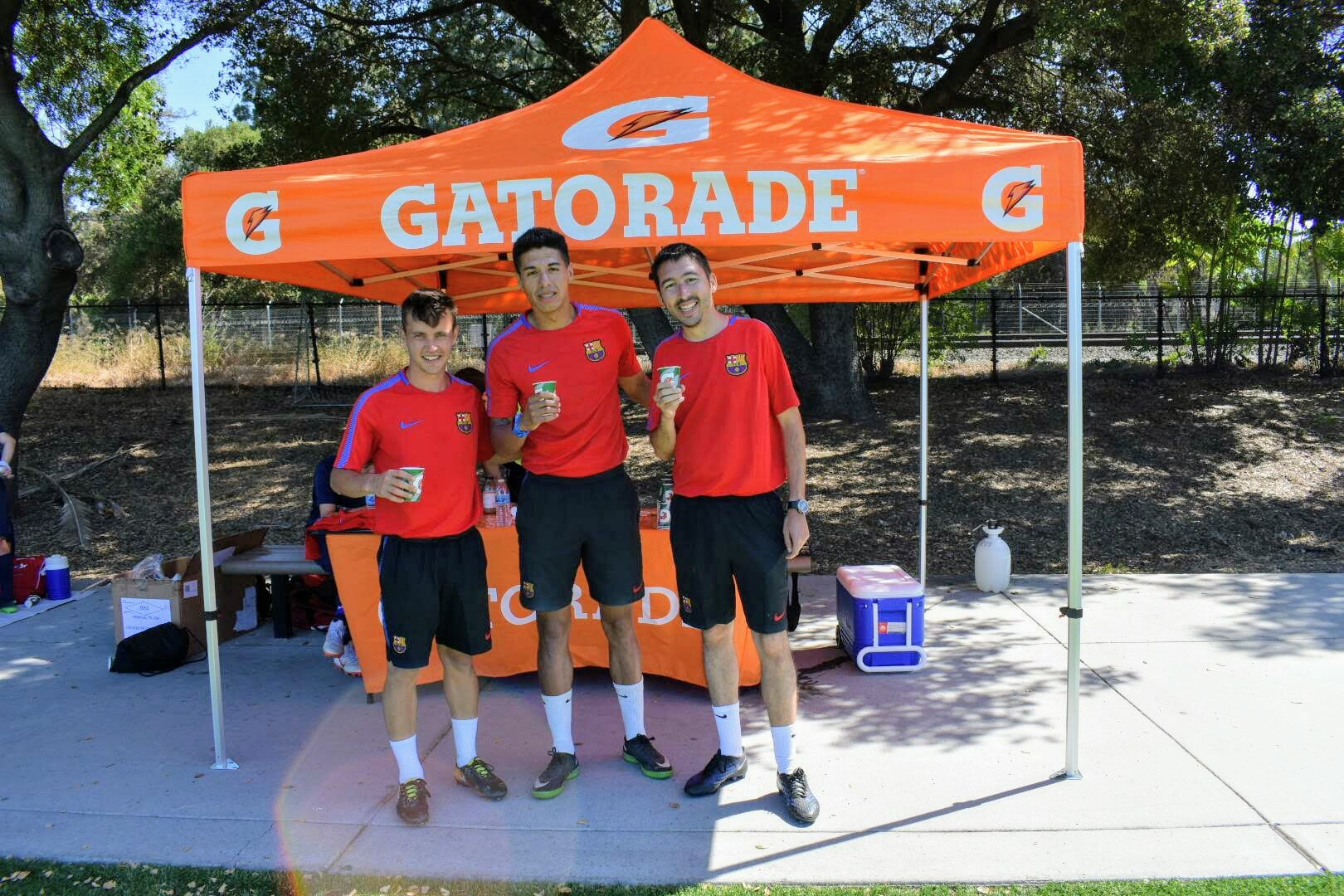 """The Coaches in Front of our """"Sponsored by Gatorade"""" Tent"""